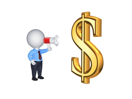 passive earnings: 3d person with megaphone and sign of USD