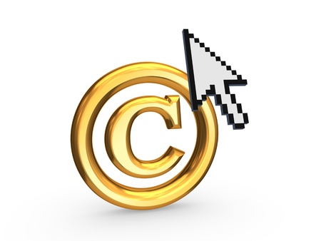 warrant: Cursor and TM symbol.Isolated on white.3d rendered.