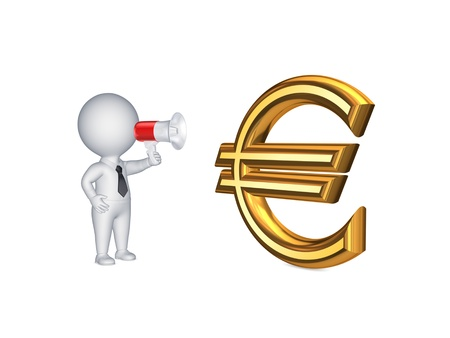 passive earnings: 3d person with megaphone and sign of euro.Isolated on white.