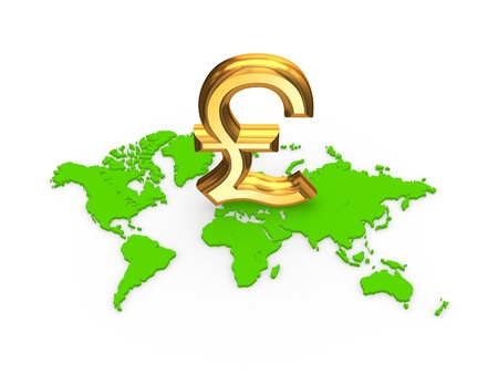 pound sterling: Sign of pound sterling on a map
