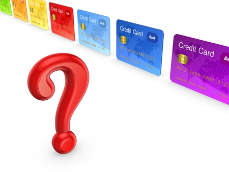shopping questions: Red query mark and colorful credit cards