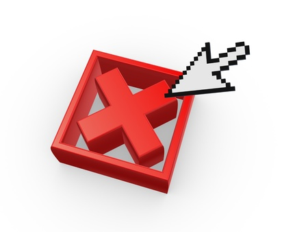 Cursor and symbol of cross mark Stock Photo - 20899957