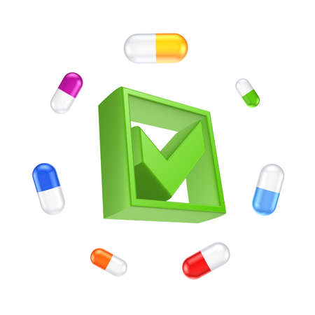 Colorful pills around green tick mark.Isolated on white.3d rendered. photo