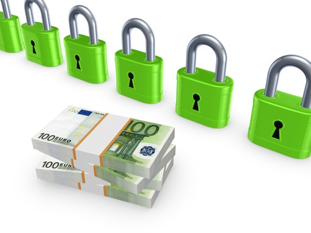 Stack of euro and colorful locks.Isolated on white.3d rendered. Stock Photo - 22472539