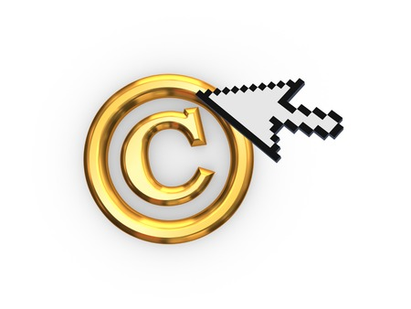 Cursor and copyright symbol.Isolated on white.3d rendered. Stock Photo - 22472549