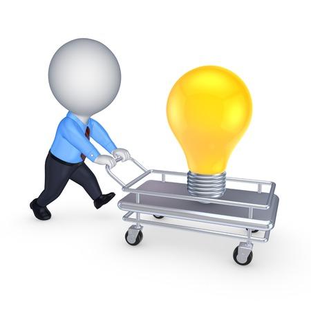 carretilla de mano: 3 � persona con carretilla y amarillo lamp.Isolated en white.3d prestados.