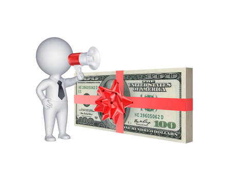 3d person with megaphone and stack of dollars.Isolated on white.3d rendered. photo