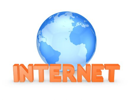 isp: Globe and word INTERNET.Isolated on white.3d rendered.