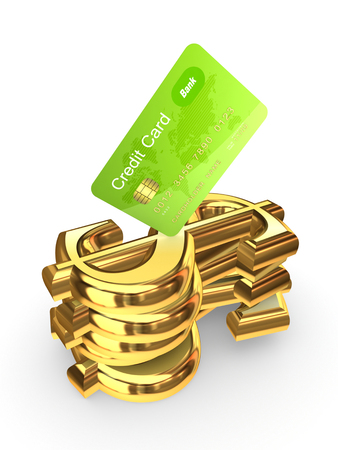 Credit card on a stack of dollar signs.Isolated on white.3d rendered. Stock Photo - 22472648