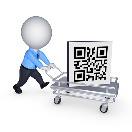 passcode: Symbol of QR code on pushcart.Isolated on white.3d rendered. Stock Photo