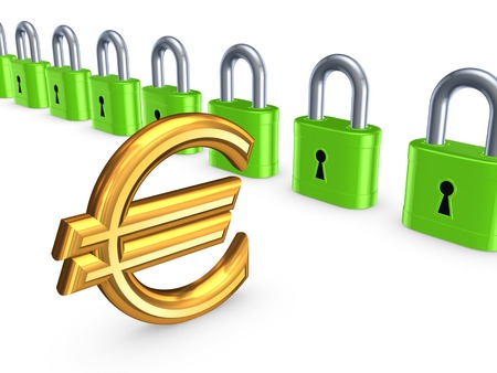 Colorful locks and sign of euro.Isolated on white.3d rendered. photo