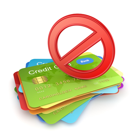 card stop: Red symbol of ban on colorful credit cards.Isolated on white.3d rendered.
