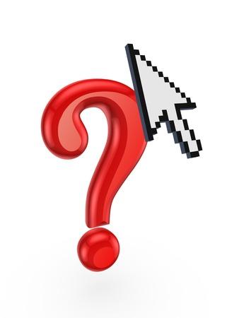 questionail: Signo de interrogaci�n rojo y cursor.Isolated en white.3d prestados. Foto de archivo