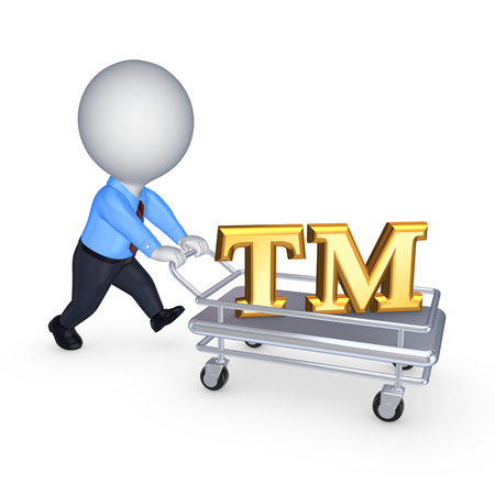 3d person with pushcart and TM symbol.Isolated on white.3d rendered. photo