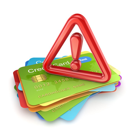 Red exclamation sign on a stack of credit cards.Isolated on white.3d rendered. Stock Photo - 22472877