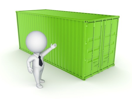Green container and 3d person.Isolated on white.3d rendered. photo