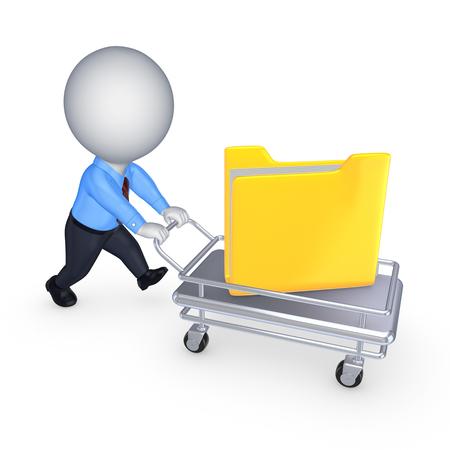 carretilla de mano: 3 ª persona pequeña con carpeta amarilla en pushcart.isolated en blanco.