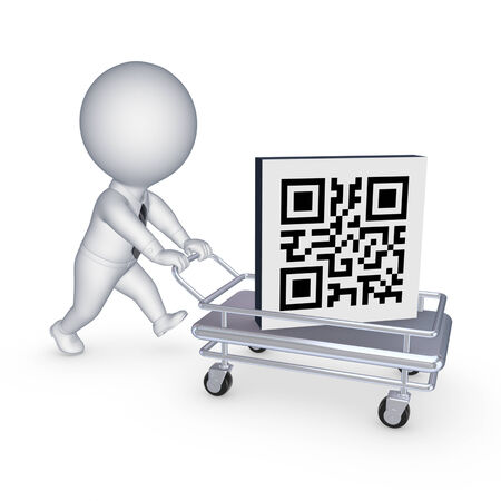 Symbol of QR code on pushcart.Isolated on white.3d rendered. photo