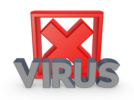Cross mark and word VIRUS.Isolated on white.3d rendered. photo