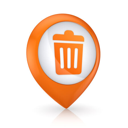 GPS icon with symbol of trashcan.Isolated on white. photo