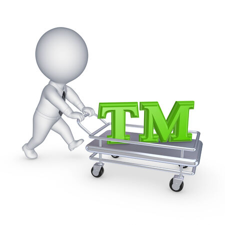 3d person with pushcart and TM symbol.Isolated on white.3d rendered.
