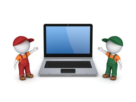 3d small people in workwear and notebook.Isolated on white.