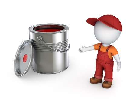 reconditioning: 3d small person in workwear and paint can.Isolated on white. Stock Photo