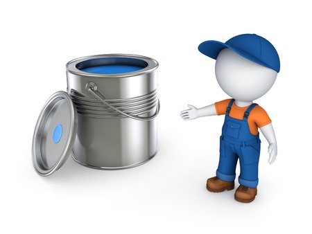 workwear: 3d small person in workwear and paint can.Isolated on white background.3d rendered illustration.