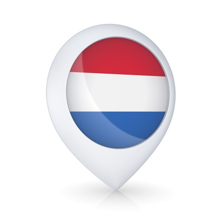 GPS icon with flag of Netherlands.Isolated on white.3d rendered. photo