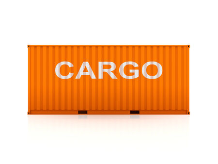 bulk carrier: Orange container.Isolated on white background.3d rendered illustration. Stock Photo