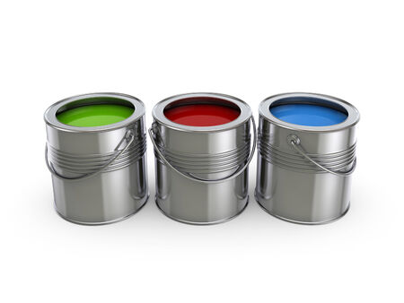 reconditioning: Paint buckets.Isolated on white background.3d rendered illustration.