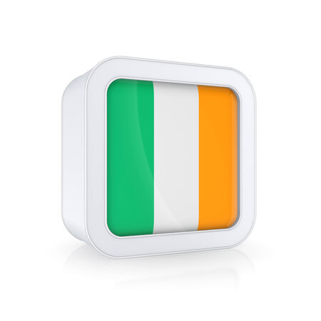 irish pride: Icon with flag of Ireland.Isolated on white.3d rendered.