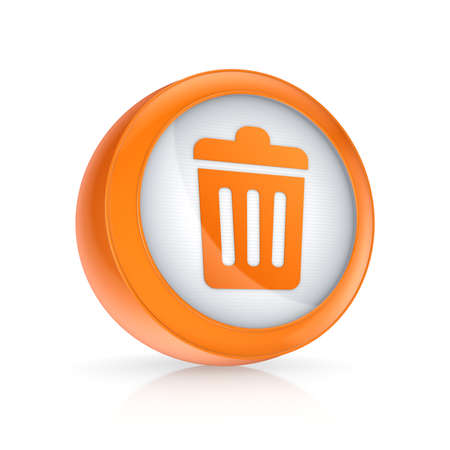 Trash can icon.Isolated on white.3d rendered. photo