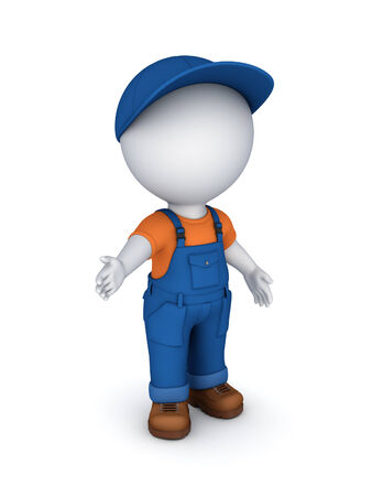 3d small person in a workwear.Isolated on white.3d rendered. photo