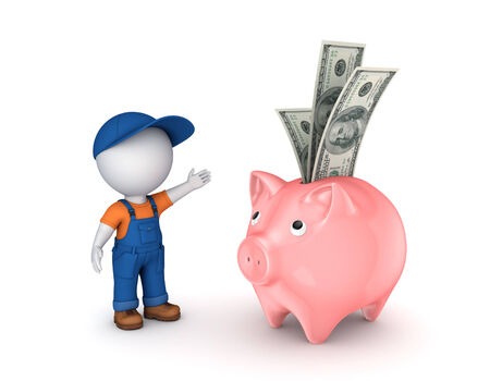 3d small person in workwear and piggy-bank.Isolated on white. photo
