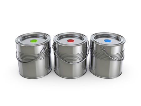 overhaul: Paint buckets.Isolated on white background.3d rendered illustration.