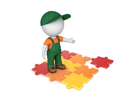 3d small person in workwear and colorful puzzles.Isolated on white. photo