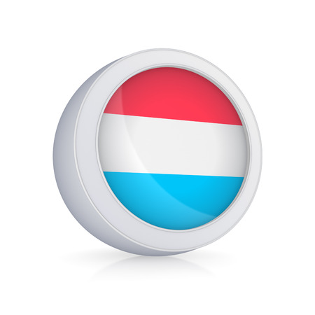 Icon with flag of Luxembourg.Isolated on white.3d rendered. photo