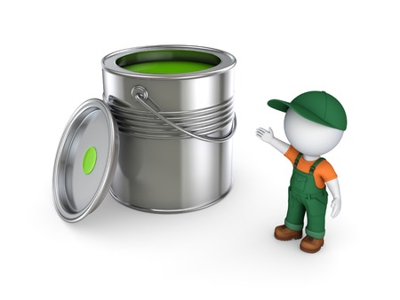 3d small person in workwear and paint can.Isolated on white background.3d rendered illustration.
