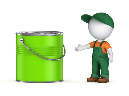 workwear: 3d small person in workwear and paint can.Isolated on white. Stock Photo