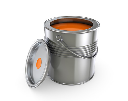 refit: Paint can.Isolated on white background.3d rendered illustration.