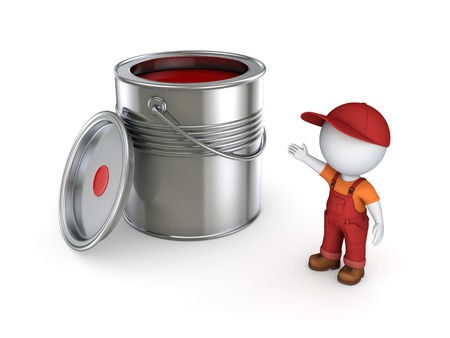 3d small person in workwear and paint can.Isolated on white. Stock Photo