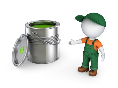 workwear overall: 3d small person in workwear and paint can.Isolated on white. Stock Photo