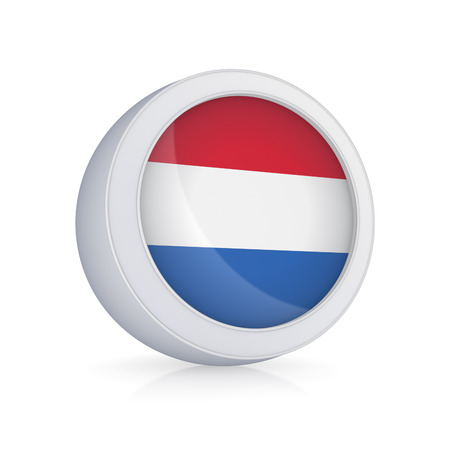 Icon with flag of Netherlands.Isolated on white.3d rendered.