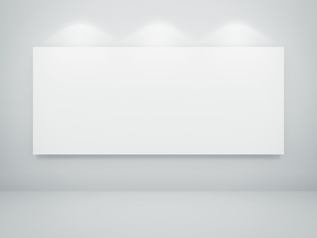 Empty white room with a blank picture on wall.3d rendered illustration. illustration