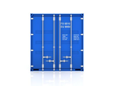 bulk carrier: Blue container.Isolated on white background.3d rendered illustration. Stock Photo