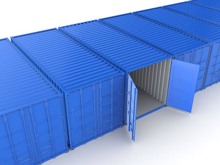 Colorful containers.Isolated on white background.3d rendered illustration. Stock Photo