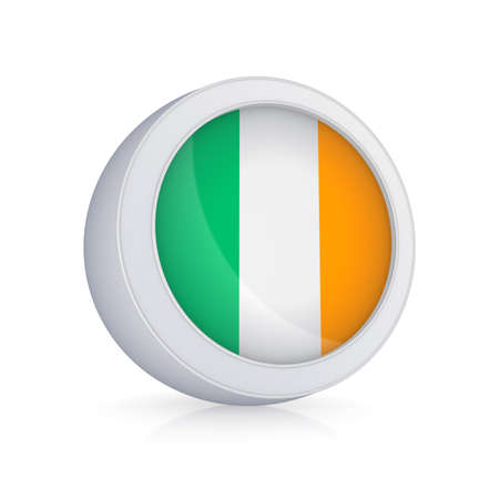 Icon with flag of Ireland.Isolated on white.3d rendered. photo