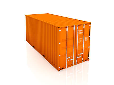 Orange container.Isolated on white background.3d rendered illustration. Stock Photo