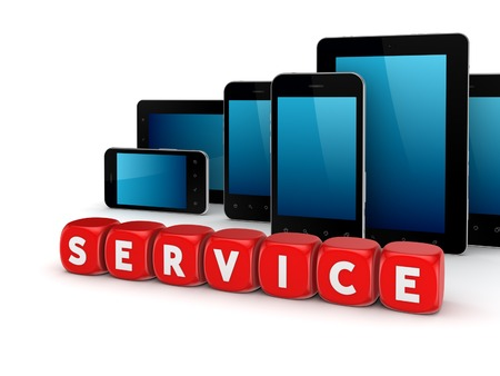 phone support: Service concept.Isolated on white background.3d rendered illustration.